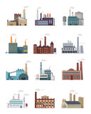 Set of Industry Manufactory Building Icons. Royalty Free Stock Images