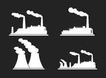 Set of industry manufactory building icons. Plant and factory, p. Ower and smoke, oil and energy. Vector illustration Stock Photos