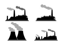 Set of industry manufactory building icons. Plant and factory, power and smoke, oil and energy. Vector illustration Stock Photography