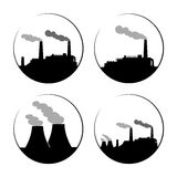 Set of industry manufactory building icons. Plant and factory. Power and smoke, oil and energy. Vector illustration Stock Images