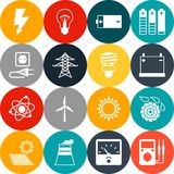 Set of industry power icons in flat design style.  stock image