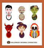 Set 6 infernal characters for the holiday of Halloween. Stock Images