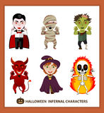 Set 6 infernal characters for the holiday of Halloween Royalty Free Stock Photography