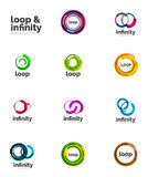 Set of infinity and loop business logos Royalty Free Stock Photography