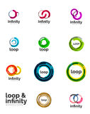 Set of infinity and loop business logos Stock Images