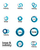 Set of infinity and loop business logos Royalty Free Stock Image