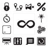 Set of Infinity, Restart, Notification, Controls, Television, Se. Set Of 13 simple editable icons such as Infinity, Restart, Notification, Controls, Television royalty free illustration
