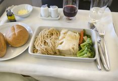 Set inflight meal on a tray, on a white table royalty free stock images