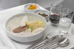 Set inflight meal on a tray, on a white table.  stock photos