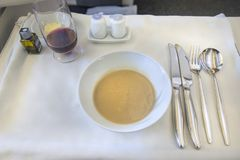 Set inflight meal on a tray, on a white table.  royalty free stock photos