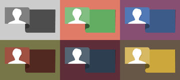 The set of info templates with head icon Stock Photos