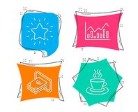 Infochart, Cash and Rank star icons. Tea cup sign. Stock exchange, Atm payment, Best result. Coffee mug. Set of Infochart, Cash and Rank star icons. Tea cup stock illustration