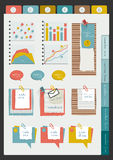 Set of infographic collection. Color web page or blog elements, folder, color paper stickers, cardboard, text messages, graphs and notices Royalty Free Stock Photography