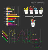 Set of infographic elements - colored pencils Royalty Free Stock Photo