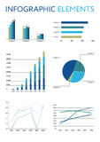 Set of infographic elements. Diagrams and graphs. Set of business infographic elements. Pie chart, diagrams and graphs. Isolated vector illustration Royalty Free Stock Images