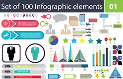 Set of 100 infographic elements, icon pack, charts, graphics, coloured, percentage, economy, statistics, ready to use, illu. 100 infographic elements, set of royalty free illustration