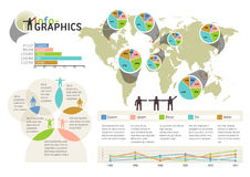 Set of infographic elements. Visual statistic info. Rmation on world map. EPS 10 vector, transparencies used Royalty Free Stock Images