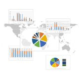 Set of Infographic Elements. World Map background. Vector Royalty Free Stock Photo