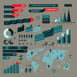 Set of infographic elements with world map Royalty Free Stock Image