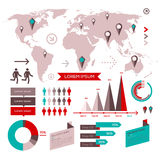 Set of infographic elements with world map Royalty Free Stock Photography