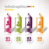 Set for infographic with four pen bussines Stock Images