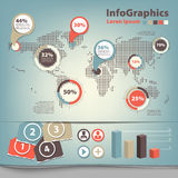 Set infographic with map Royalty Free Stock Photo