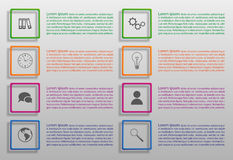 Set of infographic options in colorful squares. Eight options of infographics for your design royalty free illustration