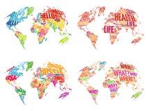 Set Infographic słowa chmury Światowe mapy Fotografia Stock