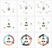 Set Infographic Template. Data Visualization. Can be used for workflow layout, number of options, steps, diagram, graph Royalty Free Stock Image