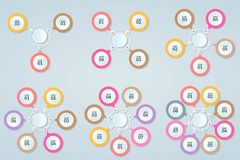 Set of Infographic template of step or workflow diagram 3-8 step. S, vector illustration stock illustration