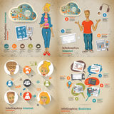 Set infographic on the topic of digital technology in vintage st Royalty Free Stock Photography