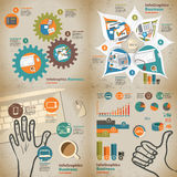 Set infographic on the topic of digital technology in vintage Royalty Free Stock Photo