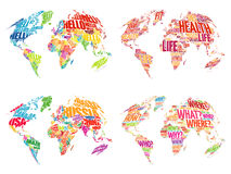 Set of Infographic World Word Cloud Maps. In Typography, Health, Hello, Question and World Map with names of countries stock photography