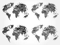 Set of Infographic World Word Cloud Maps. In Typography, Health, Hello, Question and World Map with names of countries Royalty Free Stock Photo