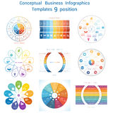 Set Infographics conceptual cyclic processes nine positions Stock Photography