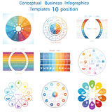 Set Infographics conceptual cyclic processes ten positions Stock Images