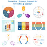 Set Infographics conceptual cyclic processes three positions Royalty Free Stock Image