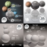 Set infographics 3d abstract with glossy balls. With a picture of the planet Stock Photo