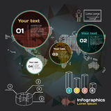 Set for infographics on a dark background with world map Royalty Free Stock Photography