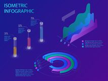 Set of infographics with data financial graphs or diagrams, information data statistic and design elements. Flat isometric infographic for your business Stock Photography