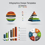 Set of infographics design template with 6 options. Vector illustration. Royalty Free Stock Photos