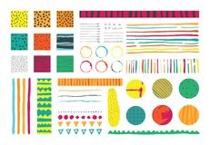Set with infographics elements in bright colors, hand drawn with ink and imperfections. Vector collection. Royalty Free Stock Photography