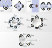 Set of infographics elements with business men team. Template for business presentation and motion graphic with copy space for te. Xt in flat and paper cut style stock illustration