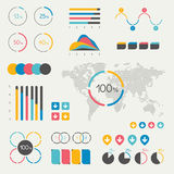 Set of infographics elements. Chart, graph, timeline, speech bubble, pie chart, map. Royalty Free Stock Image