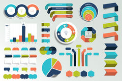 Set of infographics elements charts, graphs, circle charts, diagrams, speech bubbles. Flat and 3D design. Vector Stock Photo