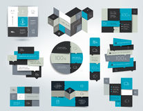 Set of infographics elements, schedules, tabs, banners, charts. Stock Photography