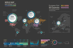 Set of infographics elements - world map, diagrams templates. Royalty Free Stock Photography
