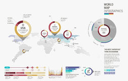 Set of infographics elements - world map, diagrams templates. Stock Photography