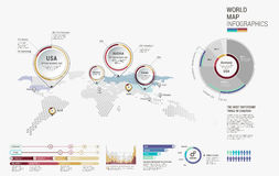 Set of infographics elements - world map, diagrams templates. Stock Images