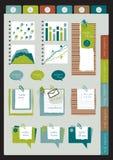 Set infographics flat design elements, charts, folders, stickers, speech bubbles, school elements. Royalty Free Stock Photos